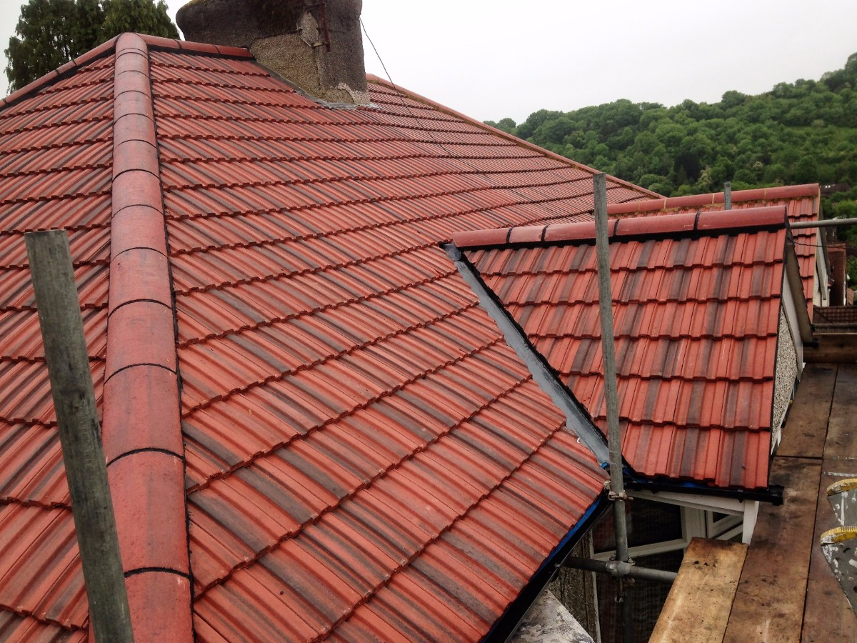 red concrete tiled roofing